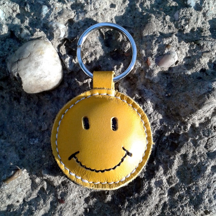 Smiley Face   Happy Face Yellow Leather Keychain FREE Shipping on Luulla 480066f1f