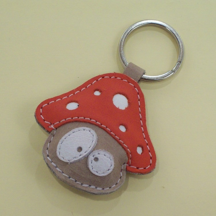 Handmade Cute Mushroom Leather Keychain - FREE Shipping on Luulla ca8edd9598ea