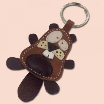 Cute little beaver handmade animal leather keychain