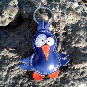 Cute Little Blue Bird Leather Animal Keychain - FREE shipping