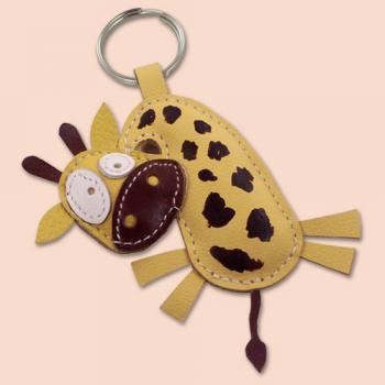 Cute little giraffe animal leather keychain