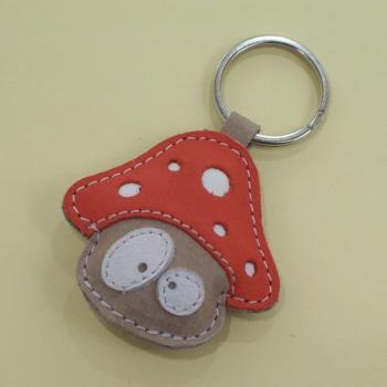 Handmade Cute Mushroom Leather Keychain - FREE Shipping